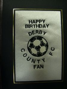 PERSONALISED EMBROIDERED DERBY COUNTY FC CARD - FOOTBALL